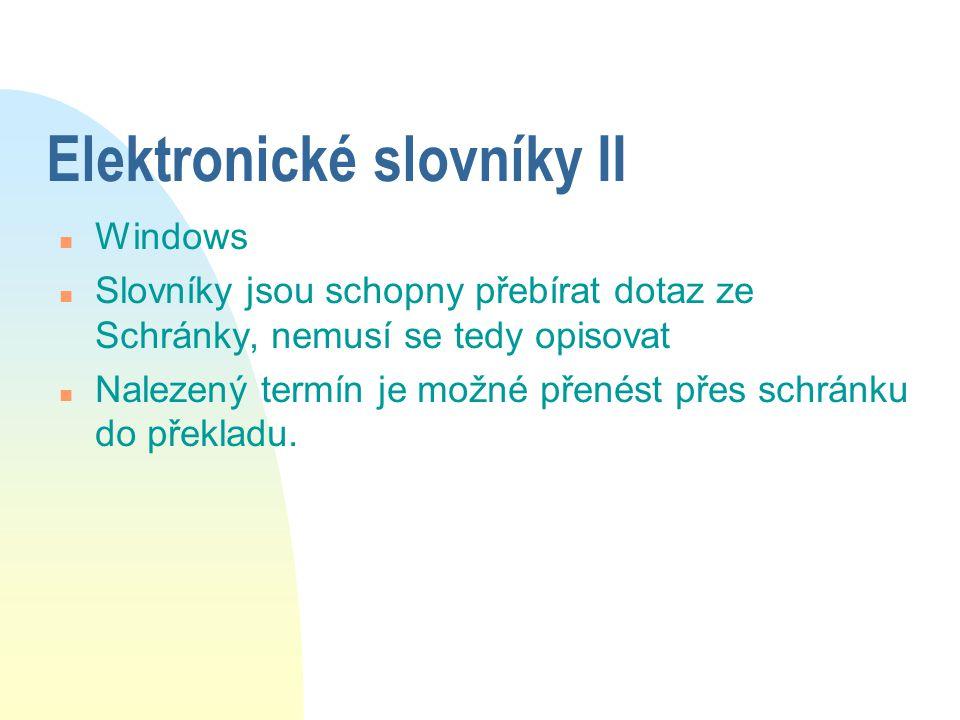 Elektronické slovníky II