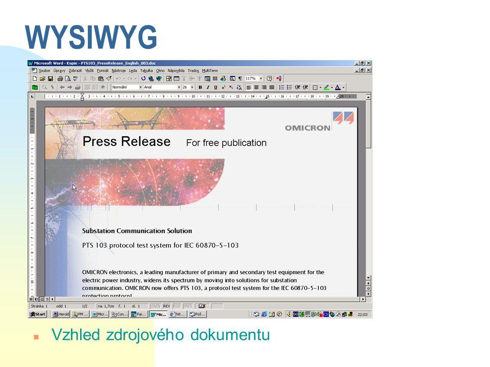 WYSIWYG Vzhled zdrojového dokumentu