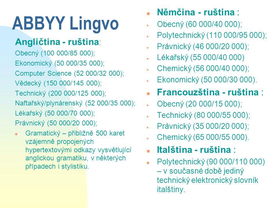 ABBYY Lingvo Němčina - ruština : Angličtina - ruština: