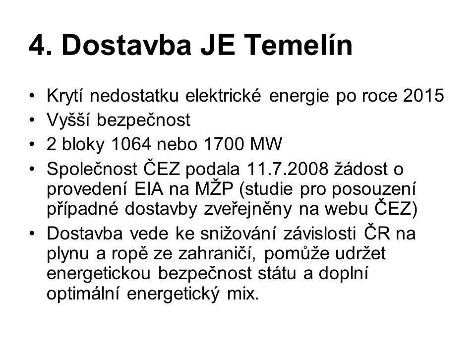 4. Dostavba JE Temelín Krytí nedostatku elektrické energie po roce 2015. Vyšší bezpečnost. 2 bloky 1064 nebo 1700 MW.