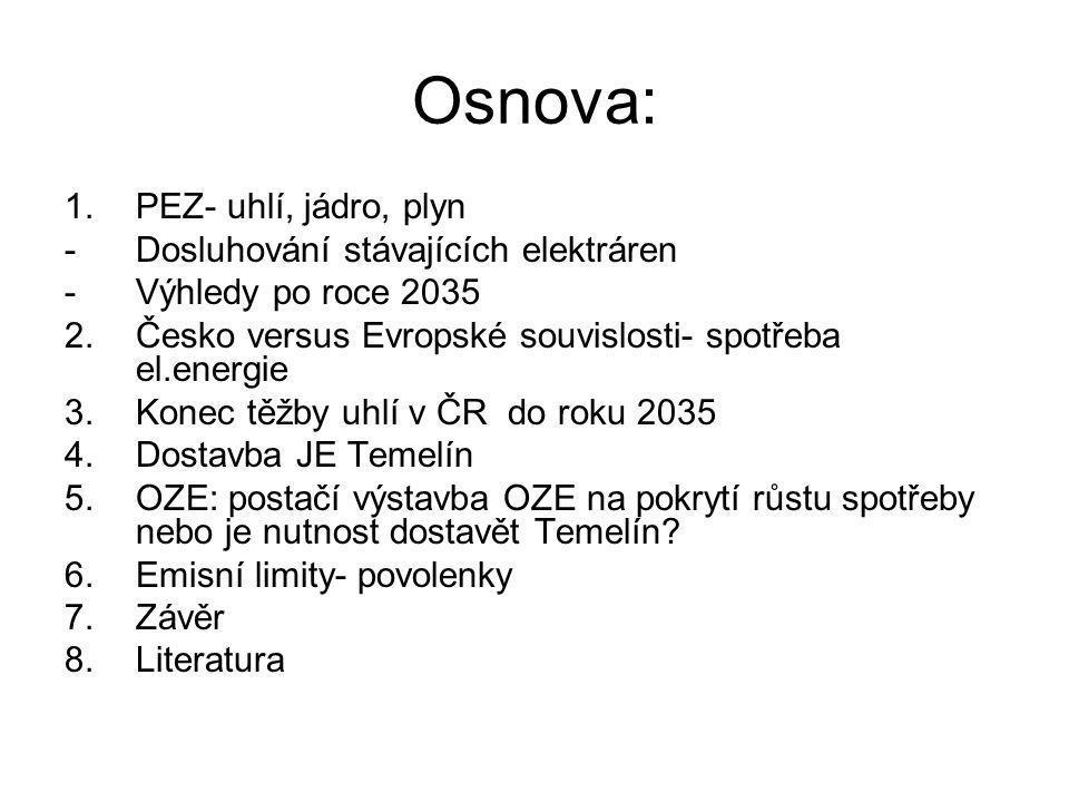 Osnova: PEZ- uhlí, jádro, plyn Dosluhování stávajících elektráren