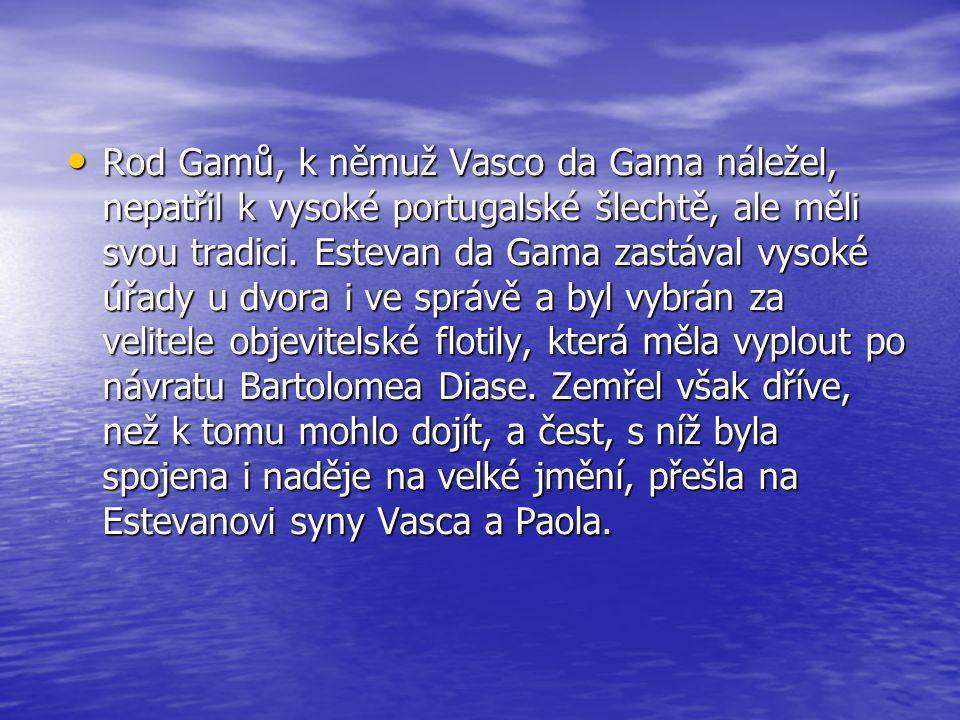 Rod Gamů, k němuž Vasco da Gama náležel, nepatřil k vysoké portugalské šlechtě, ale měli svou tradici.
