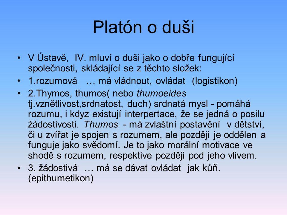 Platón o duši V Ústavě, IV. mluví o duši jako o dobře fungující společnosti, skládající se z těchto složek: