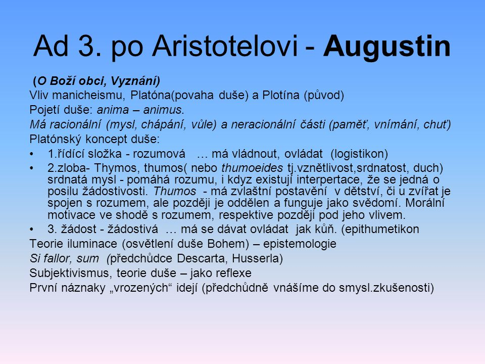 Ad 3. po Aristotelovi - Augustin