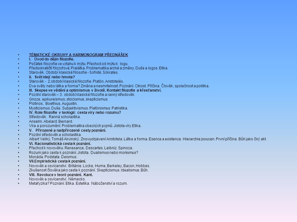 TÉMATICKÉ OKRUHY A HARMONOGRAM PŘEDNÁŠEK