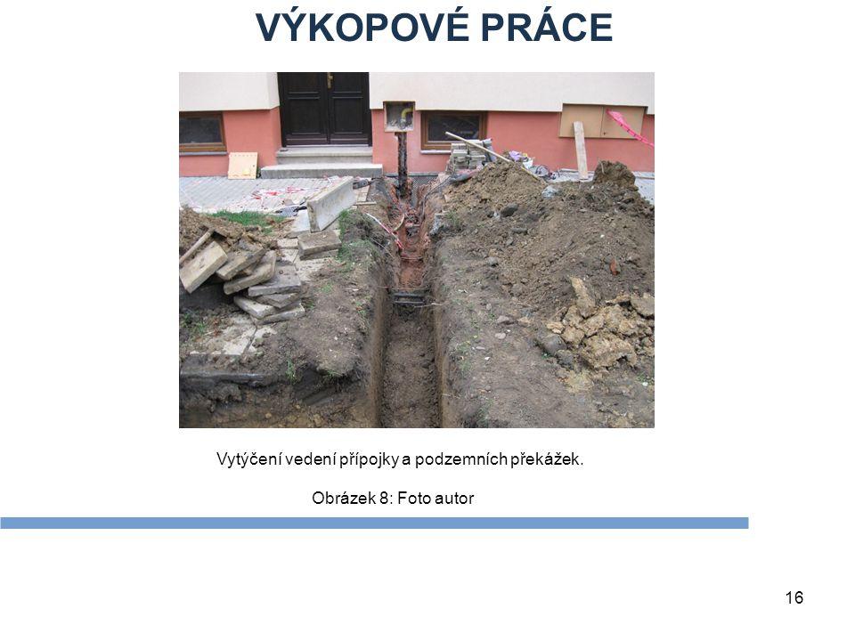 VÝKOPOVÉ PRÁCE Vytýčení vedení přípojky a podzemních překážek.