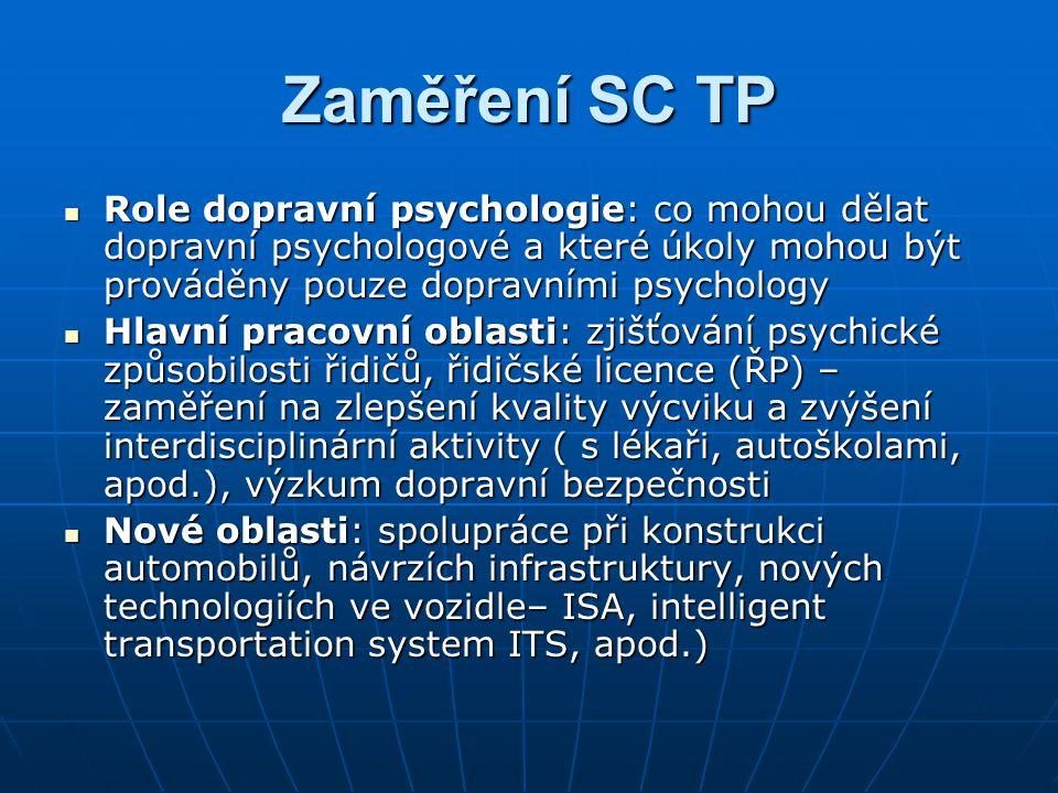 Zaměření SC TP Role dopravní psychologie: co mohou dělat dopravní psychologové a které úkoly mohou být prováděny pouze dopravními psychology.