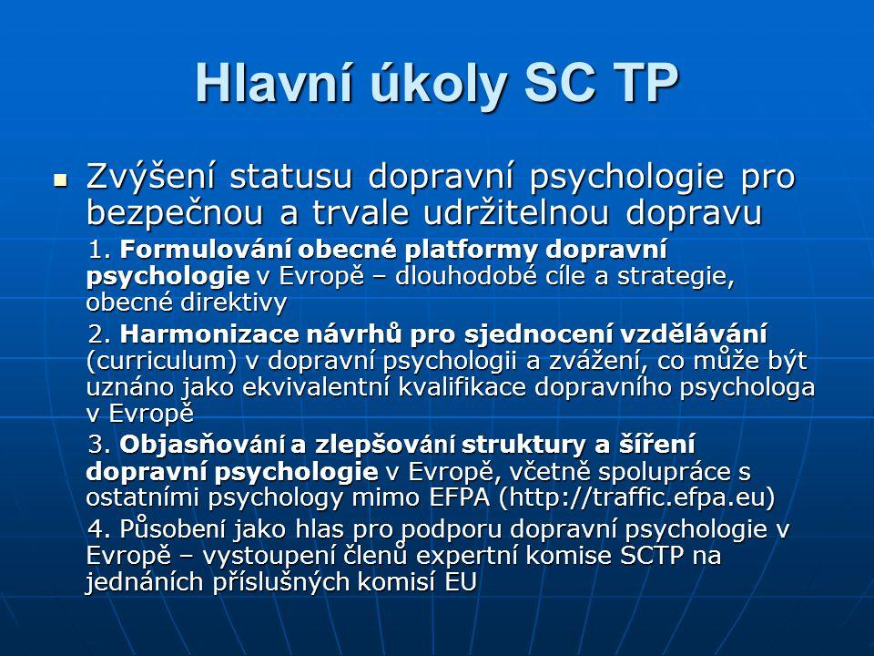 Hlavní úkoly SC TP Zvýšení statusu dopravní psychologie pro bezpečnou a trvale udržitelnou dopravu.