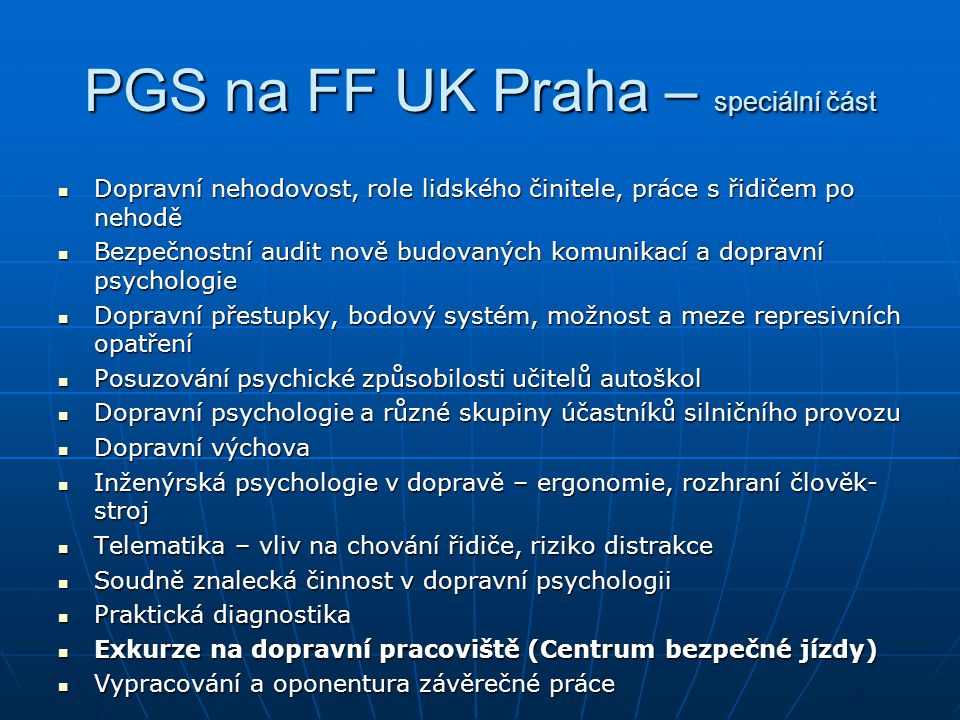 PGS na FF UK Praha – speciální část