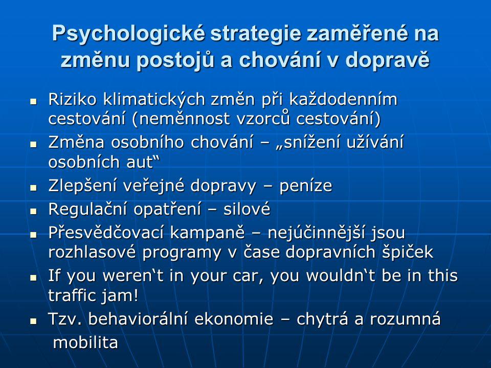 Psychologické strategie zaměřené na změnu postojů a chování v dopravě
