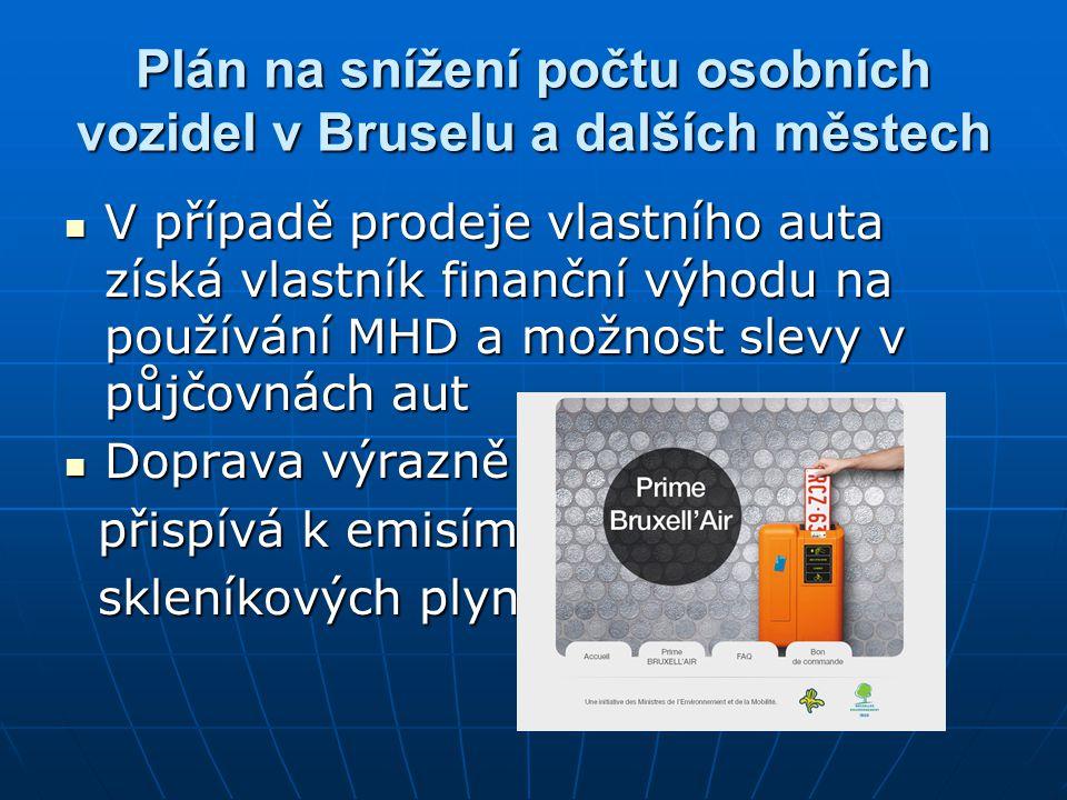 Plán na snížení počtu osobních vozidel v Bruselu a dalších městech
