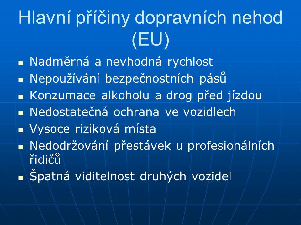 Hlavní příčiny dopravních nehod (EU)