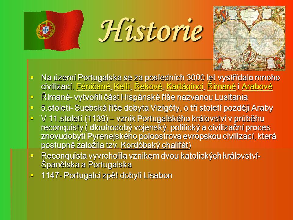 Historie Na území Portugalska se za posledních 3000 let vystřídalo mnoho civilizací. Féničané, Kelti, Řekové, Kartáginci, Římané i Arabové.