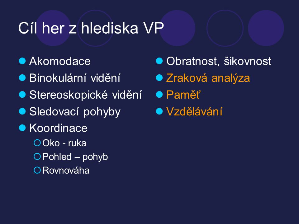 Cíl her z hlediska VP Akomodace Binokulární vidění