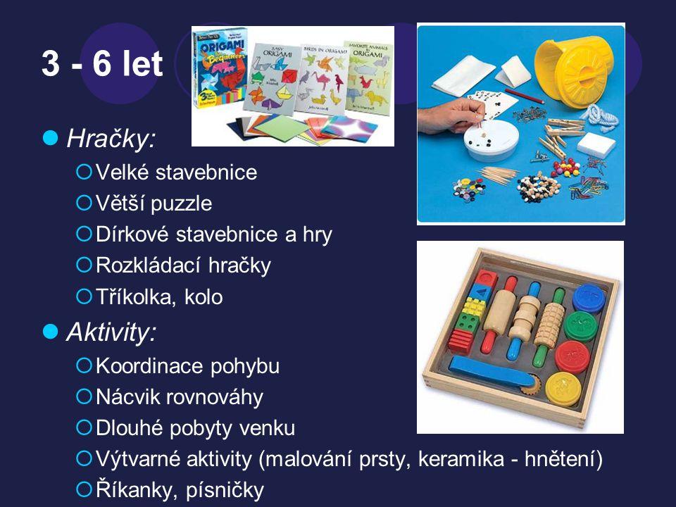 3 - 6 let Hračky: Aktivity: Velké stavebnice Větší puzzle