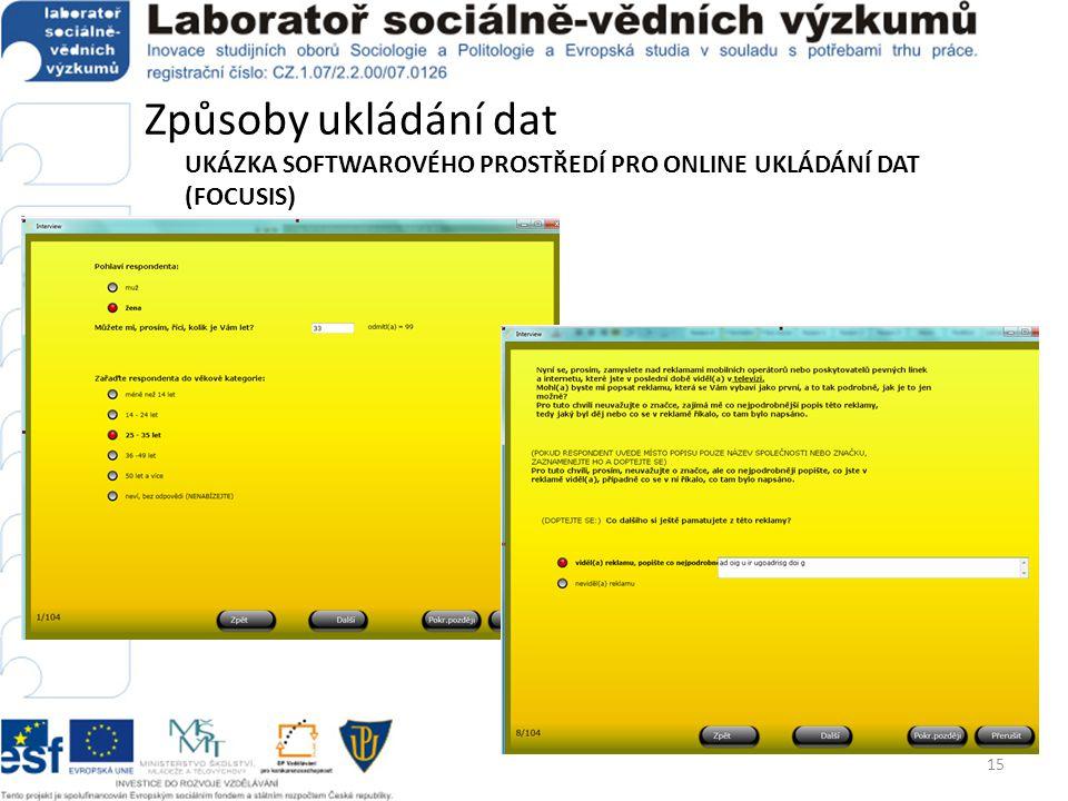 Způsoby ukládání dat UKÁZKA SOFTWAROVÉHO PROSTŘEDÍ PRO ONLINE UKLÁDÁNÍ DAT (FOCUSIS)