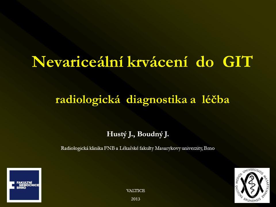 Nevariceální krvácení do GIT radiologická diagnostika a léčba