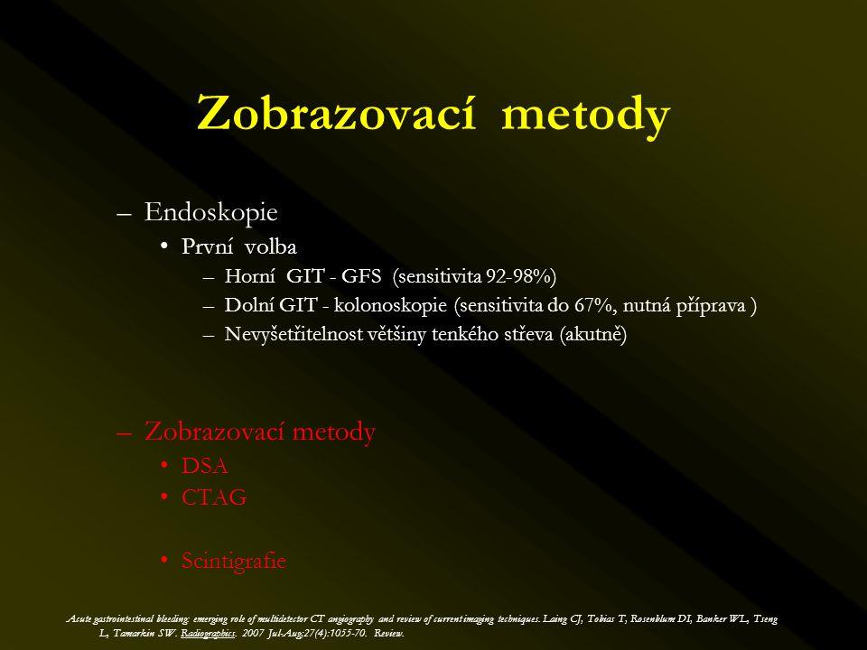 Zobrazovací metody Endoskopie Zobrazovací metody První volba DSA CTAG