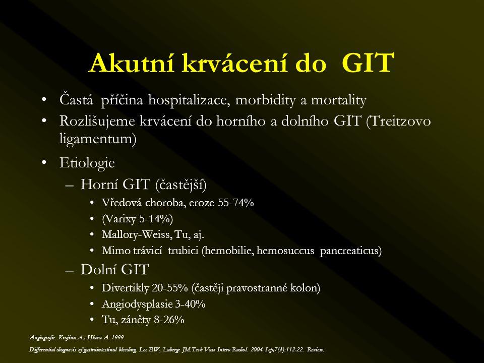 Akutní krvácení do GIT Častá příčina hospitalizace, morbidity a mortality. Rozlišujeme krvácení do horního a dolního GIT (Treitzovo ligamentum)
