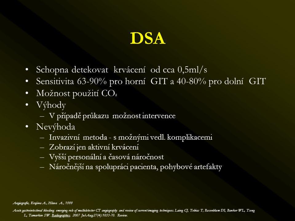 DSA Schopna detekovat krvácení od cca 0,5ml/s