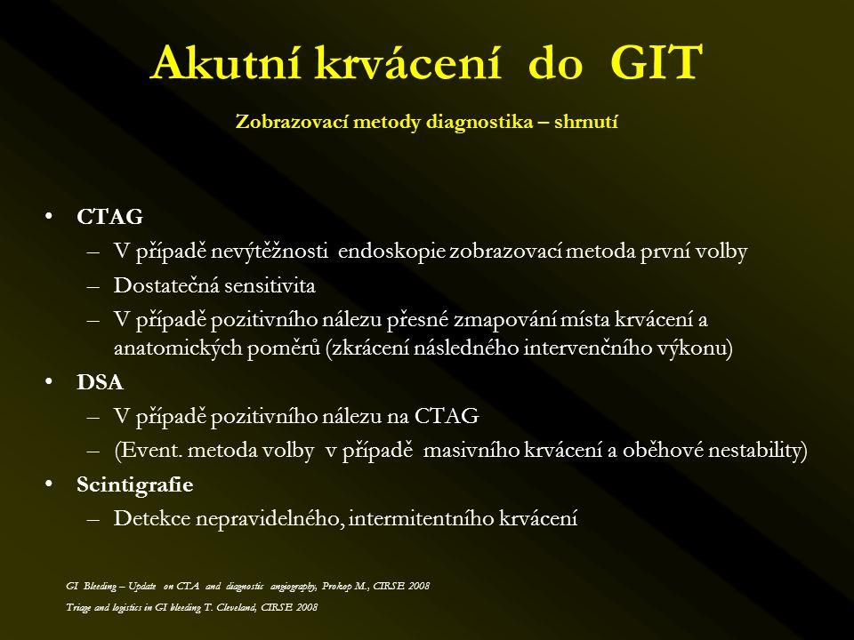 Akutní krvácení do GIT Zobrazovací metody diagnostika – shrnutí