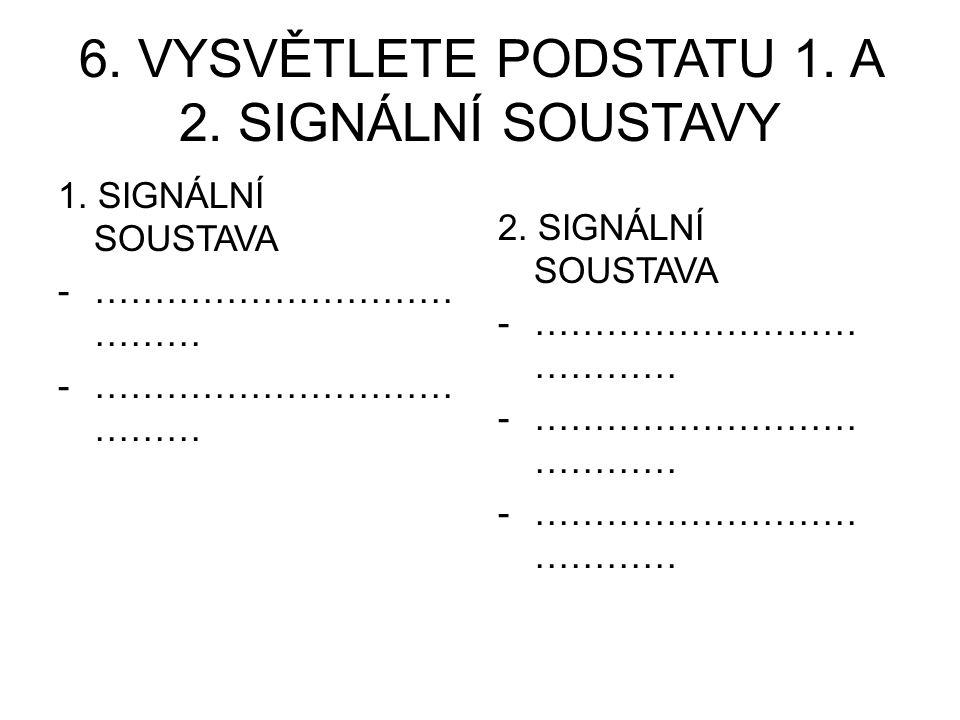 6. VYSVĚTLETE PODSTATU 1. A 2. SIGNÁLNÍ SOUSTAVY