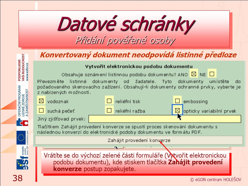 Datové schránky Přidání pověřené osoby