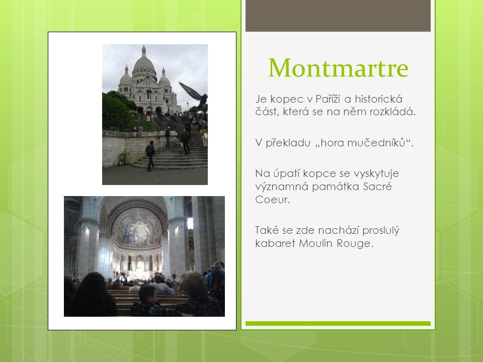 """Montmartre Je kopec v Paříži a historická část, která se na něm rozkládá. V překladu """"hora mučedníků ."""