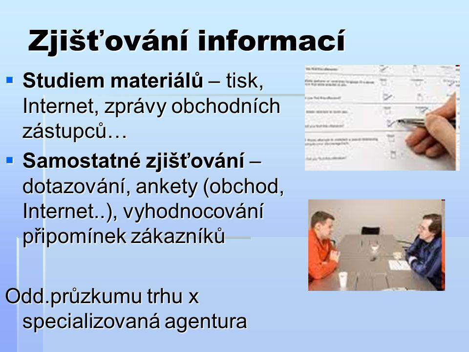 Zjišťování informací Studiem materiálů – tisk, Internet, zprávy obchodních zástupců…