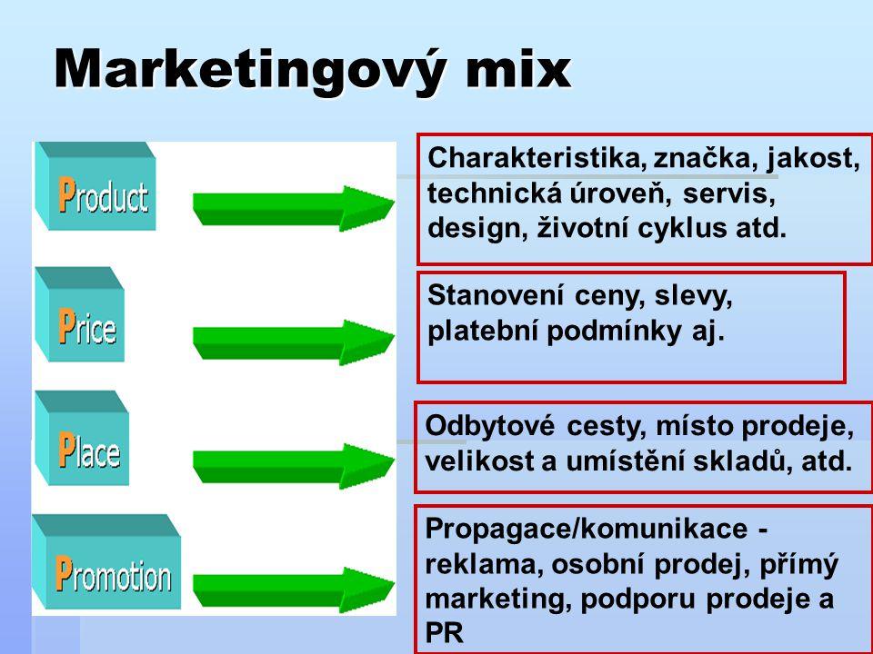 Marketingový mix Charakteristika, značka, jakost, technická úroveň, servis, design, životní cyklus atd.
