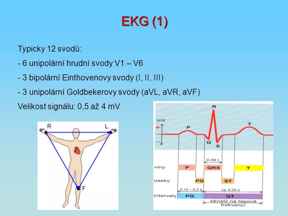 EKG (1) Typicky 12 svodů: - 6 unipolární hrudní svody V1 – V6
