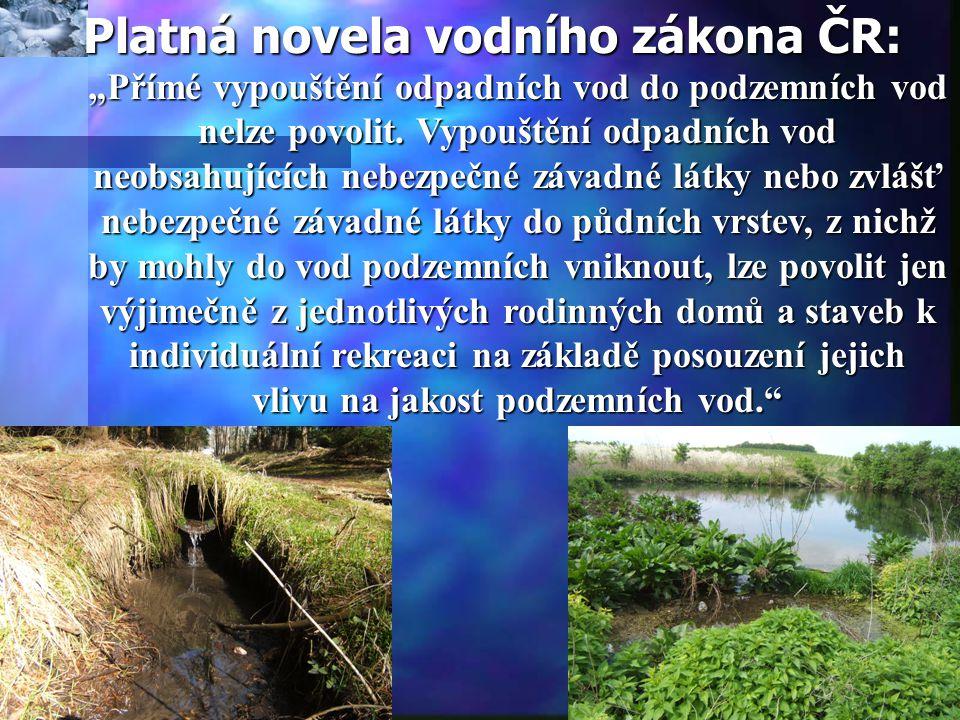 """Platná novela vodního zákona ČR: """"Přímé vypouštění odpadních vod do podzemních vod nelze povolit."""