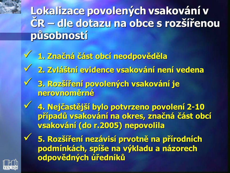 Lokalizace povolených vsakování v ČR – dle dotazu na obce s rozšířenou působností