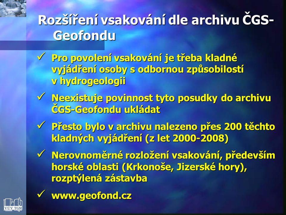 Rozšíření vsakování dle archivu ČGS-Geofondu