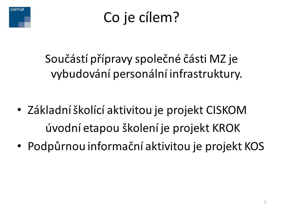 Co je cílem Součástí přípravy společné části MZ je vybudování personální infrastruktury. Základní školící aktivitou je projekt CISKOM.