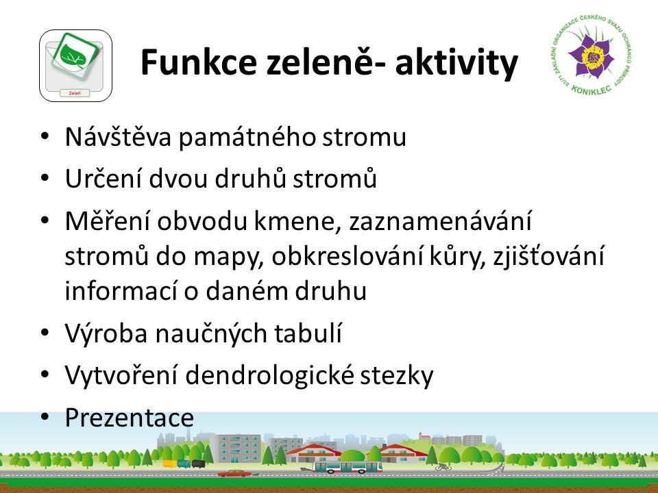 Funkce zeleně- aktivity