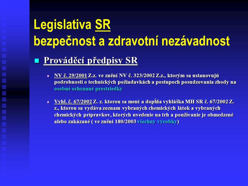 Legislativa SR bezpečnost a zdravotní nezávadnost
