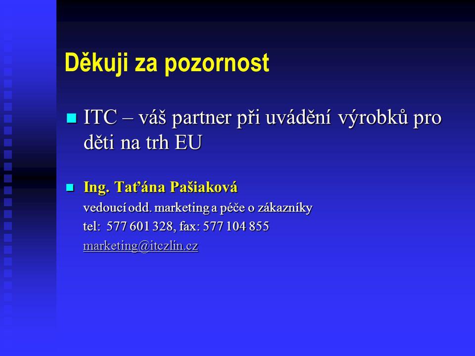 Děkuji za pozornost ITC – váš partner při uvádění výrobků pro děti na trh EU. Ing. Taťána Pašiaková.