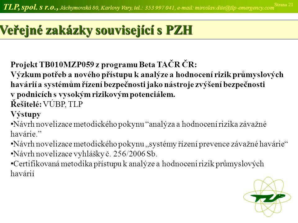 Veřejné zakázky související s PZH