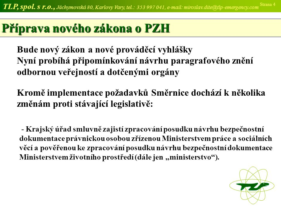 Příprava nového zákona o PZH