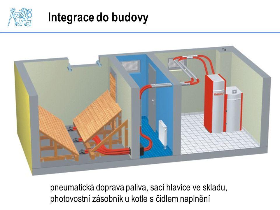 Integrace do budovy pneumatická doprava paliva, sací hlavice ve skladu, photovostní zásobník u kotle s čidlem naplnění.