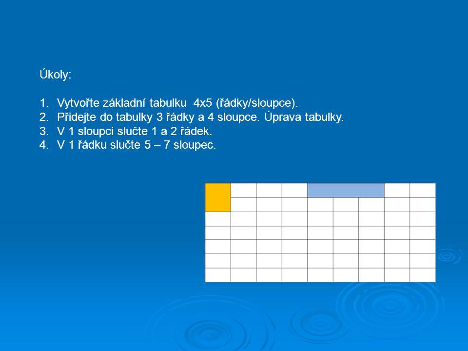 Úkoly: Vytvořte základní tabulku 4x5 (řádky/sloupce). Přidejte do tabulky 3 řádky a 4 sloupce. Úprava tabulky.