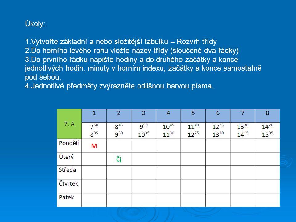 Úkoly: Vytvořte základní a nebo složitější tabulku – Rozvrh třídy. Do horního levého rohu vložte název třídy (sloučené dva řádky)