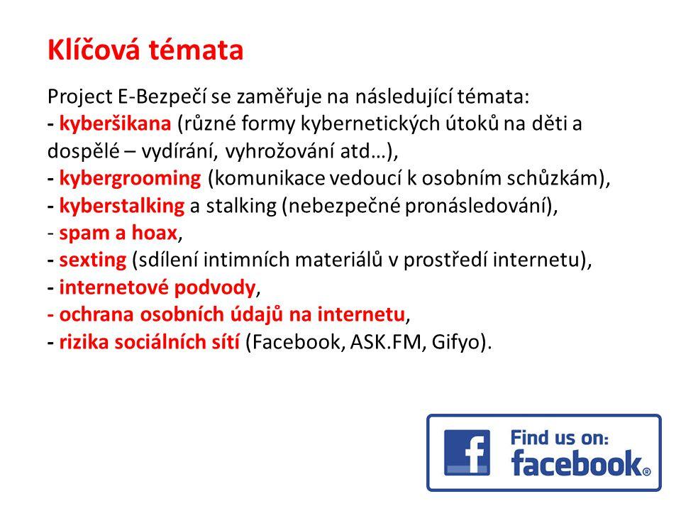 Klíčová témata Project E-Bezpečí se zaměřuje na následující témata: