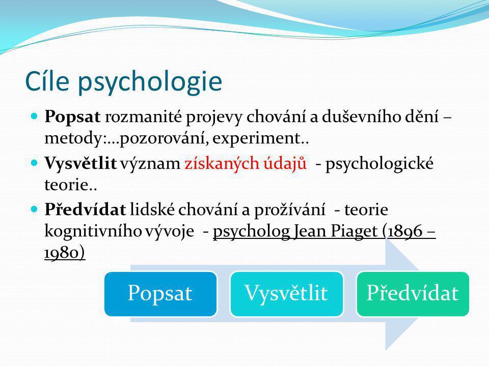 Cíle psychologie Popsat rozmanité projevy chování a duševního dění – metody:…pozorování, experiment..