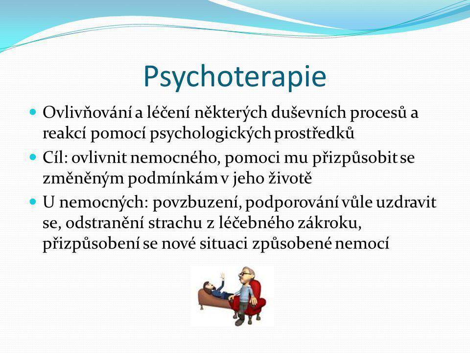 Psychoterapie Ovlivňování a léčení některých duševních procesů a reakcí pomocí psychologických prostředků.