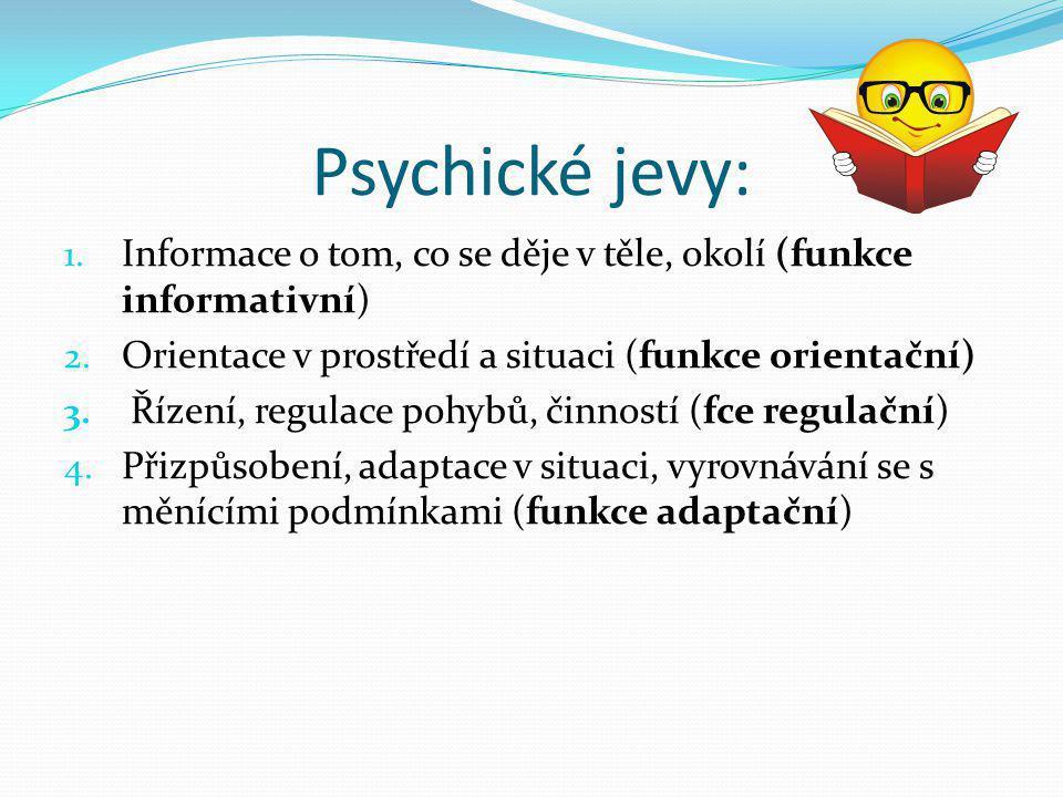 Psychické jevy: Informace o tom, co se děje v těle, okolí (funkce informativní) Orientace v prostředí a situaci (funkce orientační)