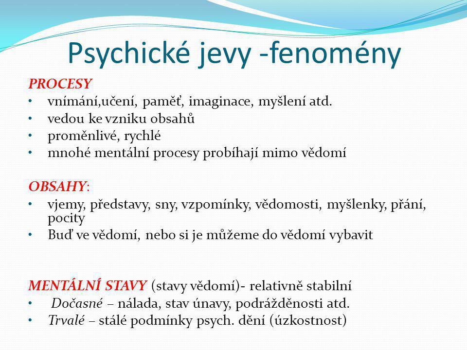 Psychické jevy -fenomény