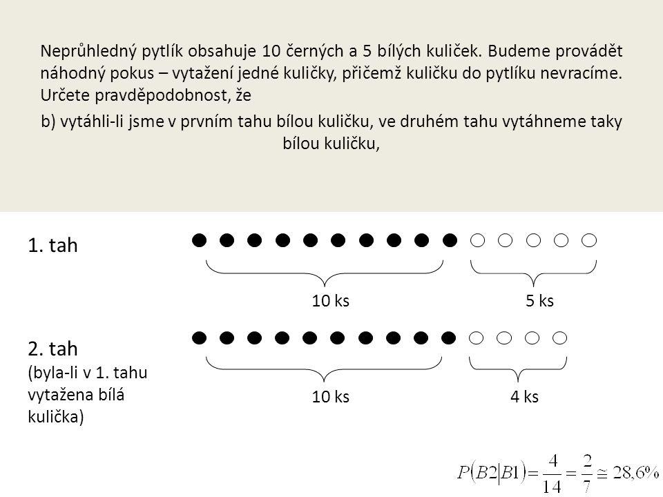 Neprůhledný pytlík obsahuje 10 černých a 5 bílých kuliček