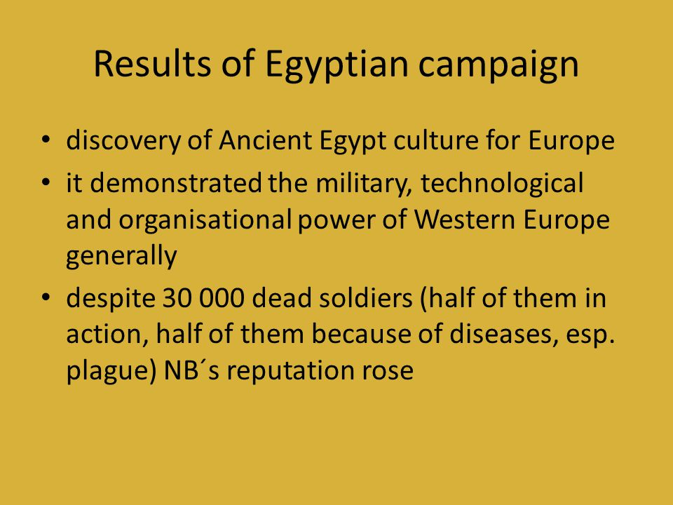 Results of Egyptian campaign